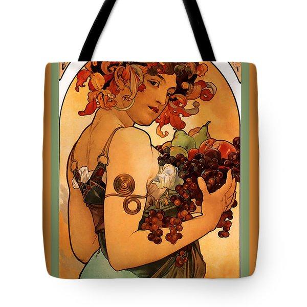 Fruit Tote Bag by Alphonse Maria Mucha