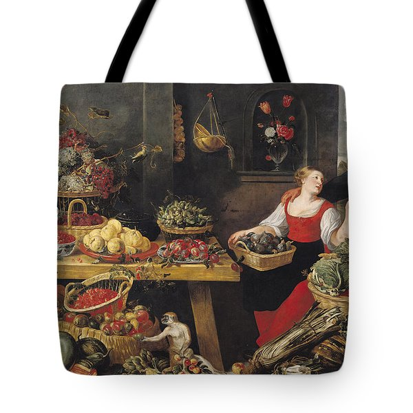 Fruit And Vegetable Market Oil On Canvas Tote Bag by Frans Snyders
