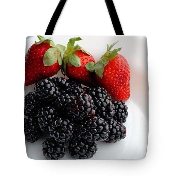 Fruit IIi - Strawberries - Blackberries Tote Bag by Barbara Griffin