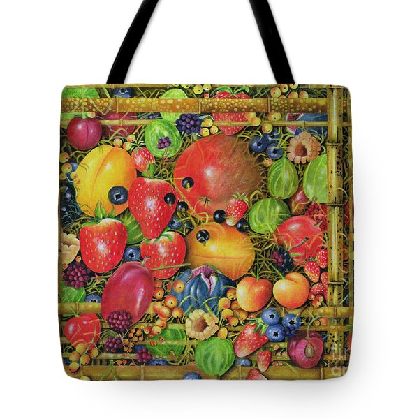 Fruit In Bamboo Box Tote Bag by EB Watts