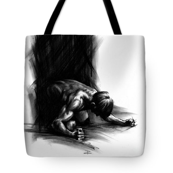 Tote Bag featuring the drawing Frustration by Paul Davenport