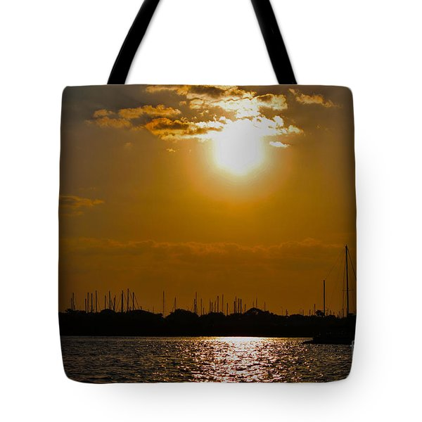 Tote Bag featuring the photograph Ft. Pierce Florida Docks At Dusk by Janice Rae Pariza