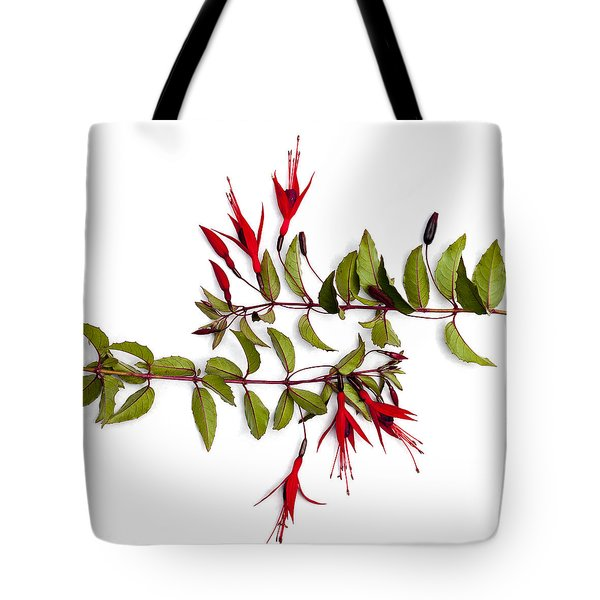 Fuchsia Stems On White Tote Bag