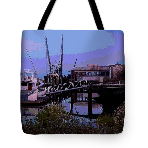 Tote Bag featuring the painting Old Brunswick Fuel Dock by Laura Ragland