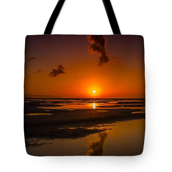 Tote Bag featuring the photograph Fuerteventuera Beach Sunrise Reflections by Julis Simo