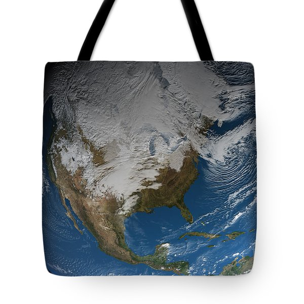 Ful Earth Showing Simulated Clouds Tote Bag by Stocktrek Images