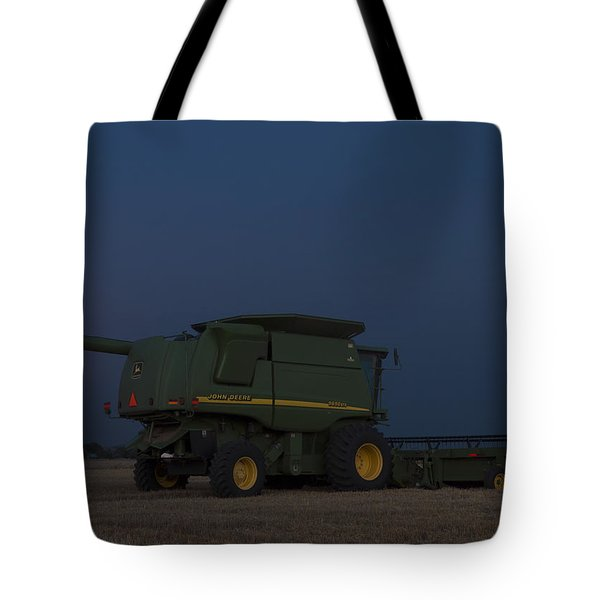 Tote Bag featuring the photograph Full Moon And Combine by Rob Graham