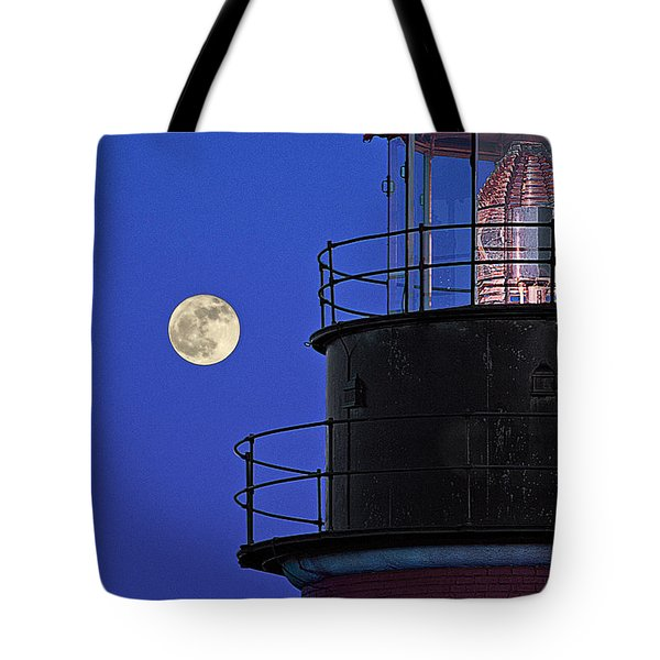 Tote Bag featuring the photograph Full Moon And West Quoddy Head Lighthouse Beacon by Marty Saccone