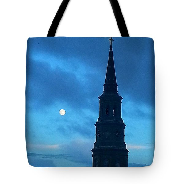 Tote Bag featuring the photograph Full Moon In The Holy City by Joetta Beauford