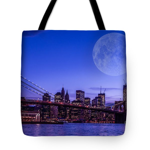 Full Moon Over Manhattan II Tote Bag by Hannes Cmarits