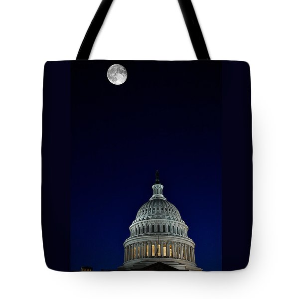 Full Moon Over Us Capitol Tote Bag by Lawrence Boothby
