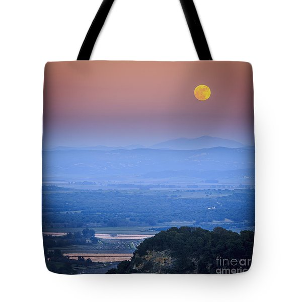 Full Moon Over Vejer Cadiz Spain Tote Bag