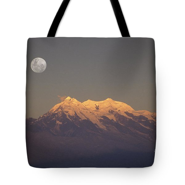 Full Moon Rise Over Mt Illimani Tote Bag by James Brunker