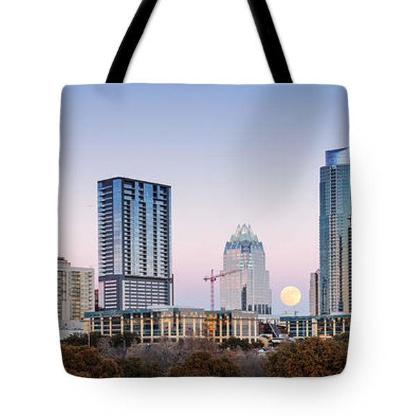 Full Moon Rising Behind Downtown Austin Skyline Texas Tote Bag by Silvio Ligutti