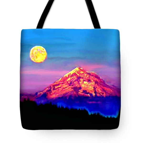 Full Moon Rising Over Mount Hood Oregon Tote Bag