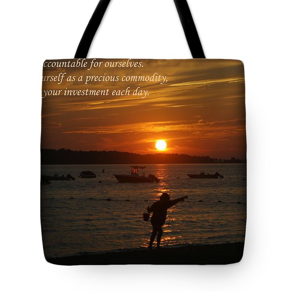 Fun At Sunset/ Inspirational Tote Bag by Karen Silvestri