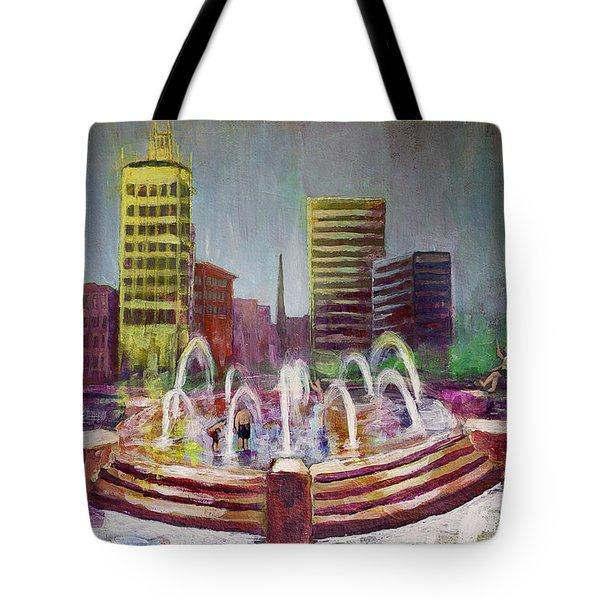Fun In The Fountain In Asheville Tote Bag by Gray  Artus