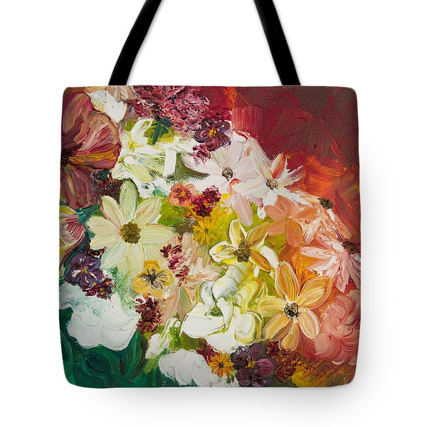 Tote Bag featuring the painting Fun With Flowers by Melinda Cummings
