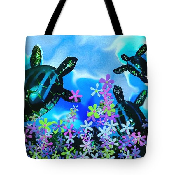 Fun With Sea Turtles Tote Bag by Lady Ex