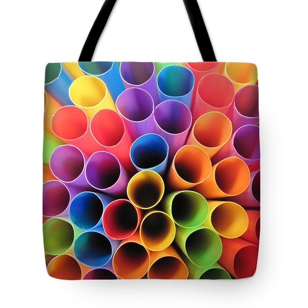 Fun With Straws Tote Bag by Mary Bedy