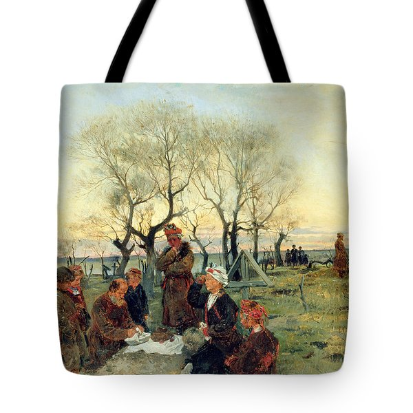 Funeral Repast At The Grave, 1884 Oil On Canvas Tote Bag