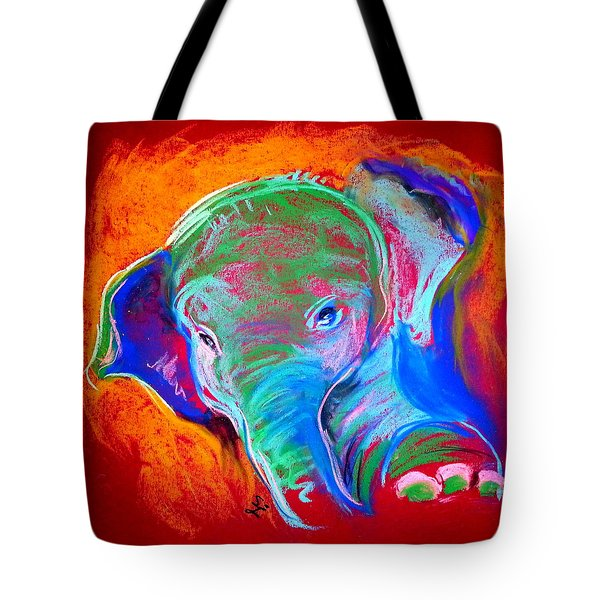 Funky Baby Elephant Blue Tote Bag