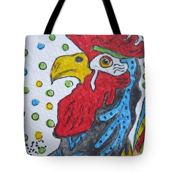 Funky Cartoon Rooster Tote Bag