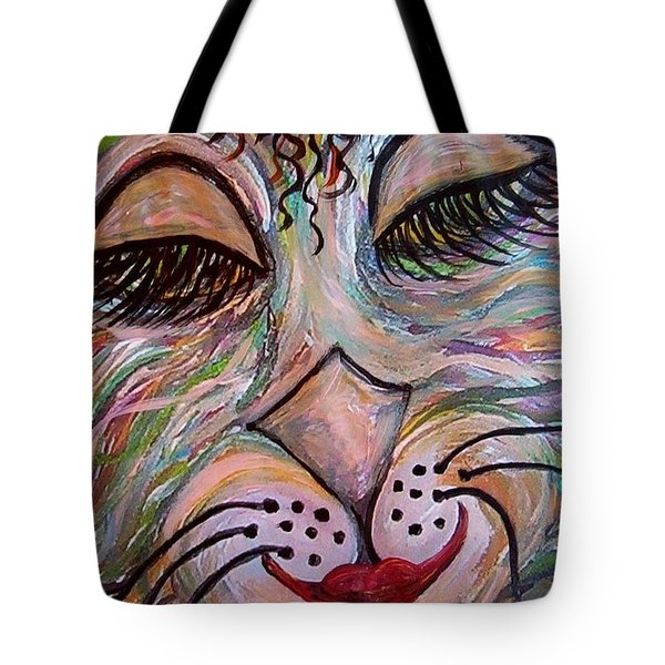 Tote Bag featuring the painting Funky Feline  by Eloise Schneider