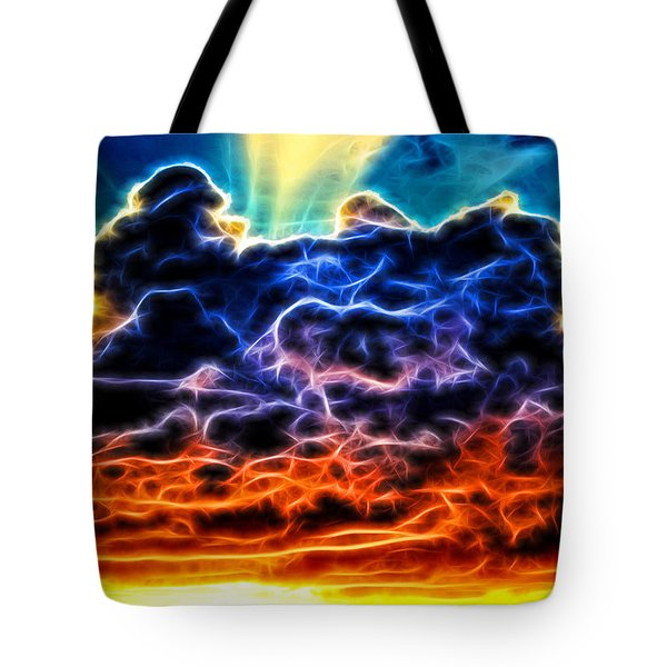 Funky Glowing Electrified Rainbow Clouds Abstract Tote Bag
