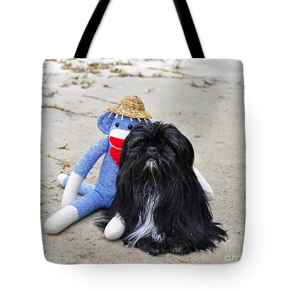 Funky Monkey And Sweet Shih Tzu Tote Bag