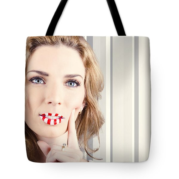 Funky Retro Summer Girl Wearing Striped Makeup Tote Bag