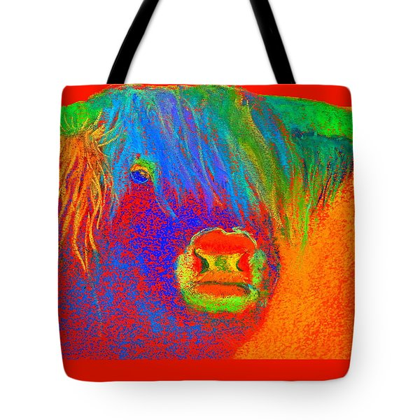 Funky Scottish Highland Cow Wildlife Art Prints Tote Bag