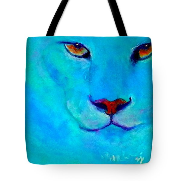 Funky Snow Leopard Turquoise Tote Bag