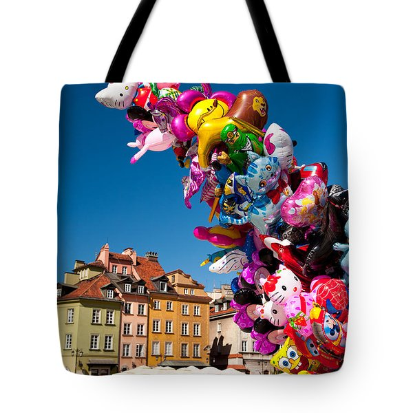 Balloons Tied Together And Tourist Walking  Tote Bag