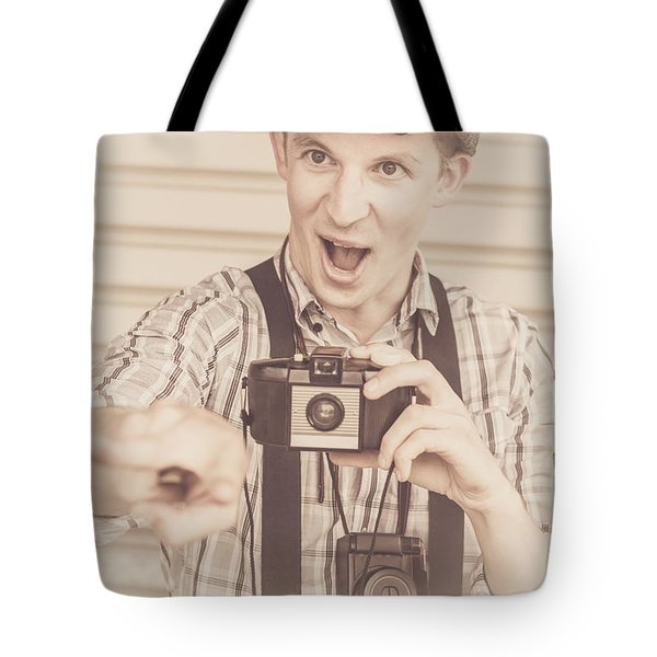 Funny Classic Paparazzo Staging Capture Tote Bag