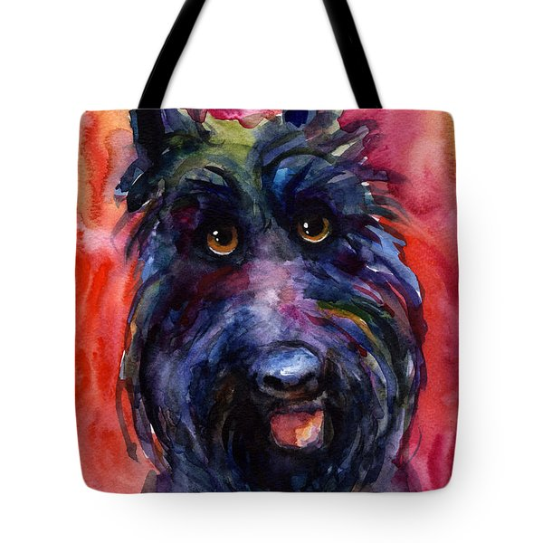 Funny Curious Scottish Terrier Dog Portrait Tote Bag by Svetlana Novikova