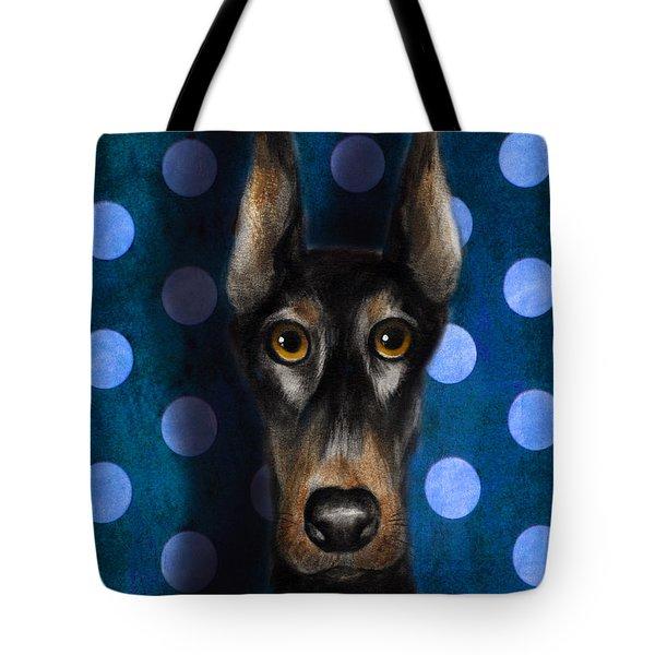 Funny Doberman Pincher Gentleman Dog Portrait Tote Bag by Svetlana Novikova