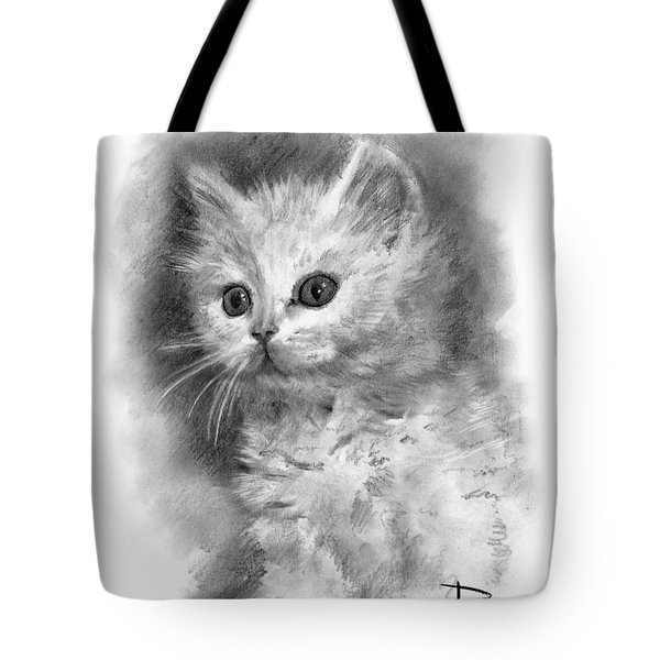 Tote Bag featuring the drawing Furball by Paul Davenport