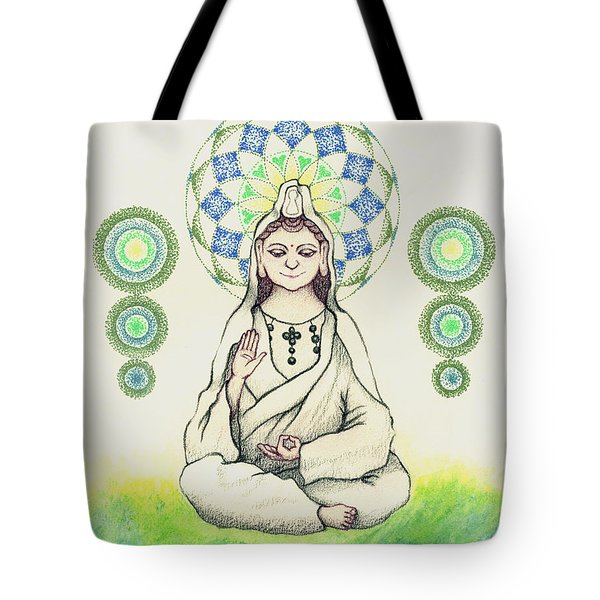 Tote Bag featuring the painting Fureai Quan Yin In Kyoto by Keiko Katsuta