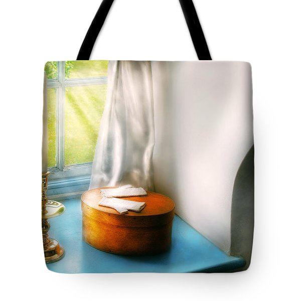 Furniture - Lamp - In The Window  Tote Bag by Mike Savad