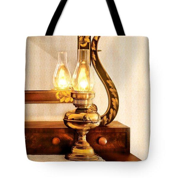 Furniture - Lamp - The Bureau And Lantern Tote Bag by Mike Savad