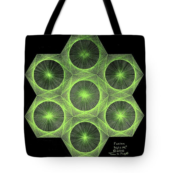 Tote Bag featuring the drawing Fusion  by Jason Padgett