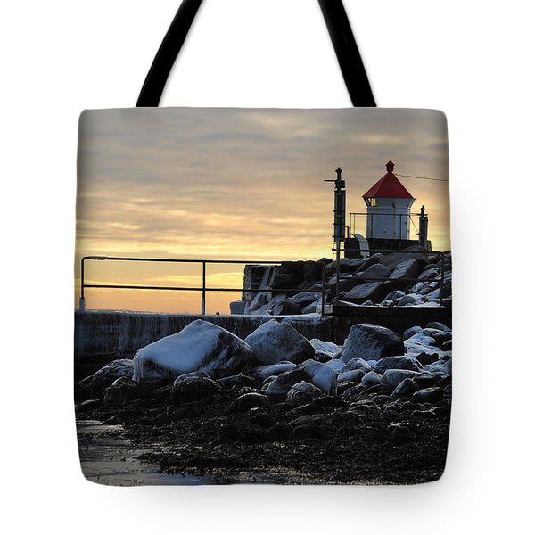 Tote Bag featuring the photograph Fyllinga Lighthouse by Randi Grace Nilsberg