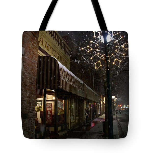 G Street Antique Store In The Snow Tote Bag by Mick Anderson