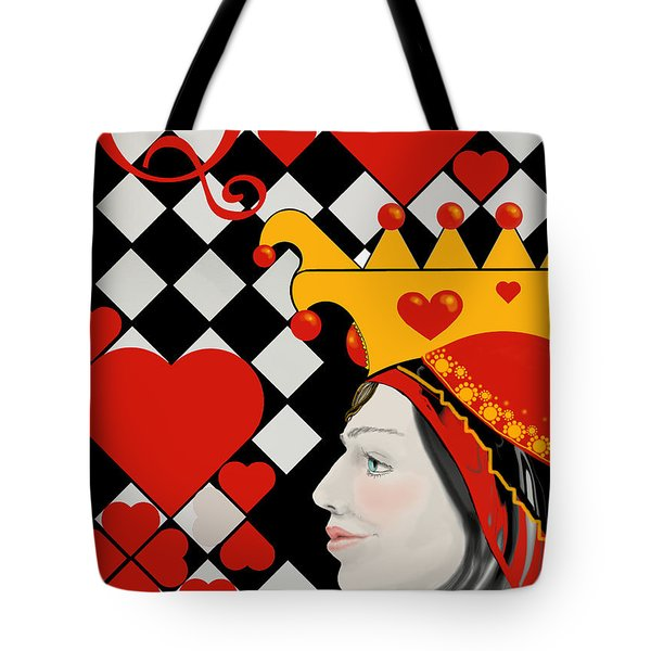 Tote Bag featuring the painting Gabby Queen Of Hearts by Carol Jacobs