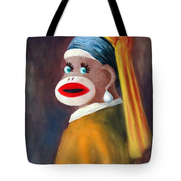 Gal With A Pearl Earbob Tote Bag by Randy Burns