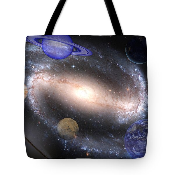 Galaxies And Planets Tote Bag by J D Owen