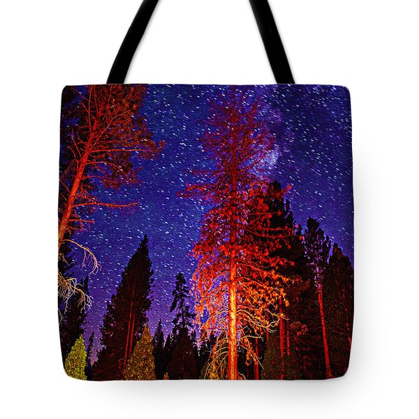 Tote Bag featuring the photograph Galaxy Stars By The Campfire by Jerry Cowart