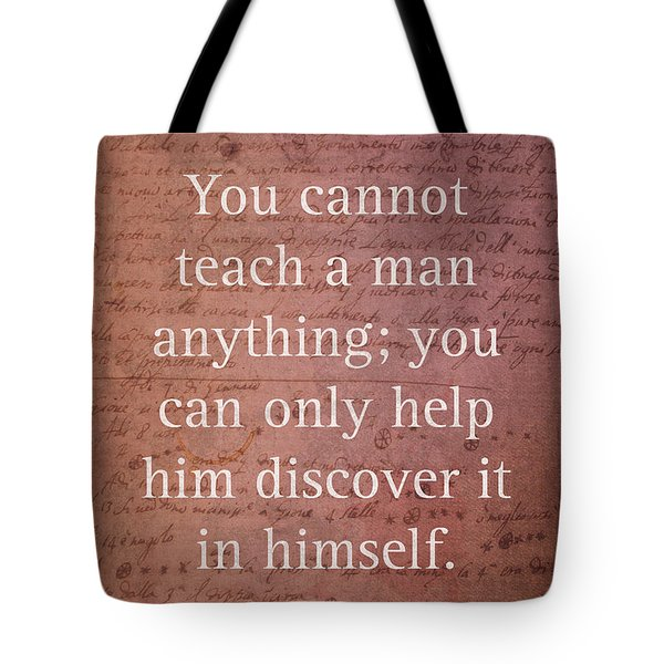 Galileo Quote Science Astronomy Math Physics Inspirational Words On Canvas Tote Bag