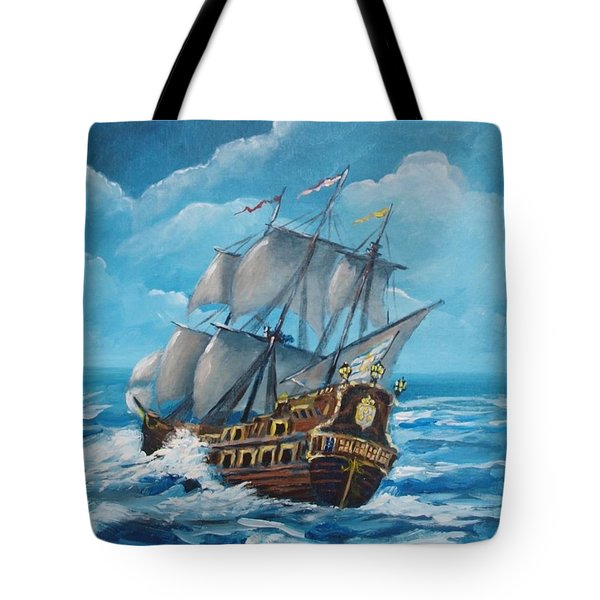 Galleon At Night Tote Bag